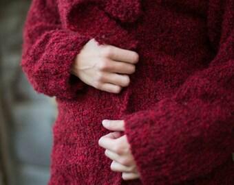 Cardigan rosso in lana