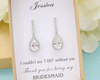 Bridesmaid Gift, Bridesmaid Earrings, Personalized Bridesmaid Gifts, Bridesmaid Jewelry Set, Mother of Bride Gift, Bridal Party Jewelry