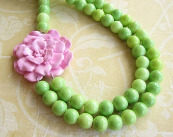 Statement Necklace Flower Necklace Beaded Necklace Green Jewelry Pink Necklace Multi Strand Gift For Her