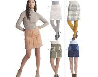 Simplicity Sewing Pattern 8420 Misses' Skirts in Two Lengths with Pockets and Trim Variations