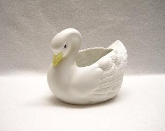Homco - White Swan Bisque Porcelain Planter #1402