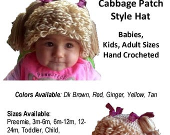 MADE TO ORDER Cabbage Patch Styled Hat Hand Crocheted by Made Magical for Preemies through Adults