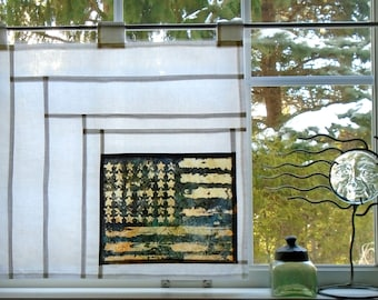 Americana Rustic Folk Art Curtain ~ Bleached Art~Stained Glass-Look Pojagi Batik Window Treatment / bohemian cafe / dorm / boudoir curtain