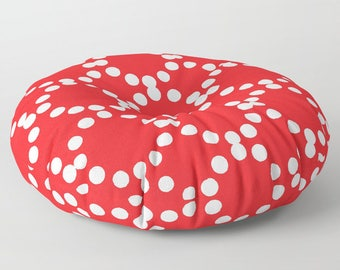 Red floor cushion . Round cushion . Red Pillow . Round pillow . Floor pillow . Geometric pillow . 26 inch pillow . 30 inch pillow