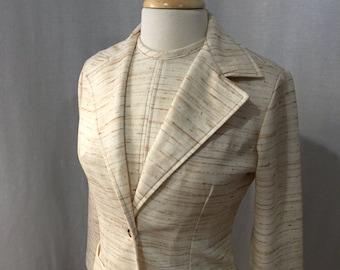 Vintage 1970s 2 piece Silk Look Dress Jacket Ensemble by Sears
