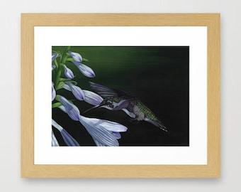 Hummingbird Painting - Print of acrylic painting 5 by 7 print, bird art, wall art, home decor