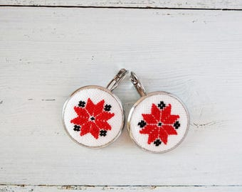 Earrings, personalized earrings, vintage style, modern embroidery, Ukrainian, ethnic, red black white, bohemian, folk, embroidered jewelry