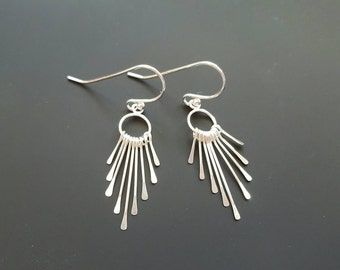 Small sterling silver fringe earrings- leverback or french hook