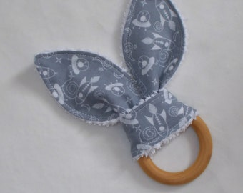 Gray Outer Space Rabbit Ears Wooden Teething Ring - SALE
