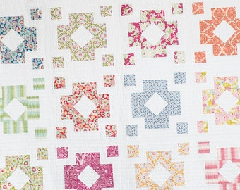 Diamond Lanterns PDF quilt Pattern/ modern quilt pattern/ fat quarter quilt pattern