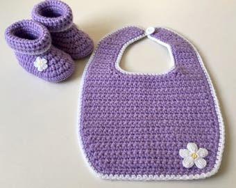 Baby girl booties and bib set