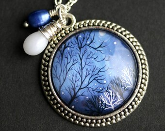 Winter Trees Necklace. Tree Pendant with Dark Blue Fresh Water Pearl and White Coral Teardrop. Blue Necklace. Handmade Necklace.