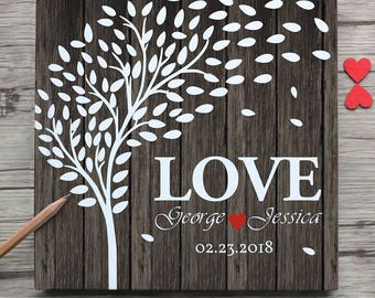 Personalzied wedding guest book,custom love tree with name and date white wedding guest book,wedding signature book for couple,wedding gift
