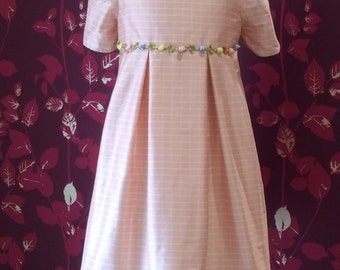 romantic dress made of pale pink plaid silk