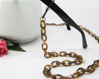 Tortoise Shell Glasses Leash; eyeglass chain; reading glasses necklace holder; glasses chain; reading glasses holder; spectacles holder