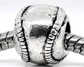 2 Pieces Antique Silver Baseball / Softball European Charms