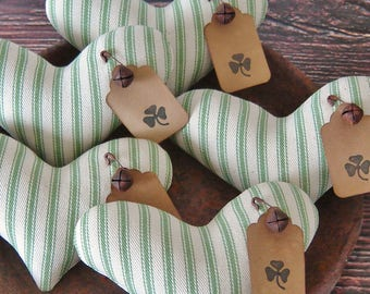 Primitive St Patricks Day Shamrock Tags Heart Bowl Fillers ~ Ticking Fabric ~ St. Patrick's Day  ~ Spring Easter Farmhouse Ornies Tucks