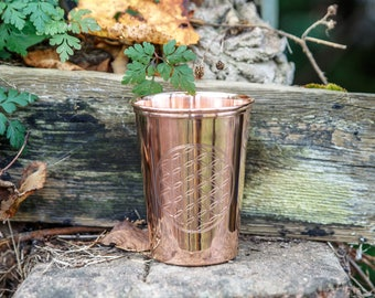 Copper Drinking cup-  flower of life Engraved - 325ml- healing copper-