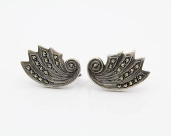 Vintage Sterling Silver Marcasite Up the Ear Wing Shape Screwback Earrings 1930s. [7152]