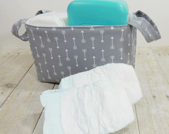 Fabric Storage Basket - Diaper Caddy - Arrows on Gray - Toy Storage