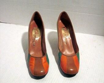 sz 6 vintage fashion 1960S /70s leather high heel mix color  shoes YORDI lable