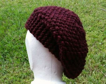 Slouch Hat band brim beanie stocking cap or beret burgundy, merlot, red, hand knit, textured