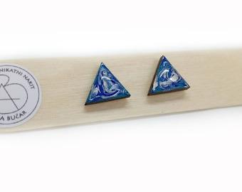 Geometric Earrings, Triangle Earrings,Gifts For Women, Geometric Jewellery,Laser Cut Wood,Triangle Jewellery, Geo stud,Blue earrings,surf