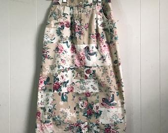 Vintage Carol Reed Denim High Waisted Floral Skirt