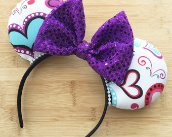 Purple heart mouse ears