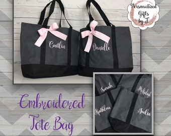 Bridesmaid Tote, Embroidered Tote Bag, Bridesmaids Gifts, Personalized Tote Bag, Personalised Tote, Bridal Party Tote, Wedding Day Bag