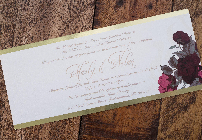 Burgundy and gold wedding invitation, floral design wedding ...
