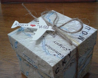 Travel boxes/Maps wedding/baby-shower maps boxes/wedding favors/wedding travel gifts/baptism theme/Wedding save the date/wedding travel tags