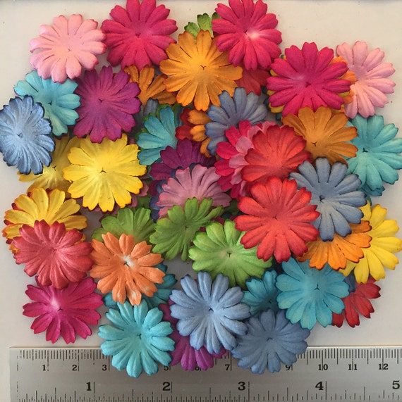 Wholesale 100 daisy mulberry paper flowers mixed color paper flowers wholesale 100 daisy mulberry paper flowers mixed color paper flowers size 1 inch bulk price embellishment scrapbooking from gafeelshop on etsy studio mightylinksfo