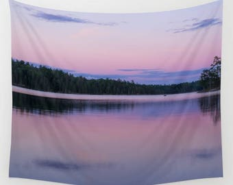 Pink Nature Photography Tapestry Wall Hanging Nursery Wall Art Girl, Purple Wall Tapestries of Nature Prints, Minnesota Gifts Large Wall Art