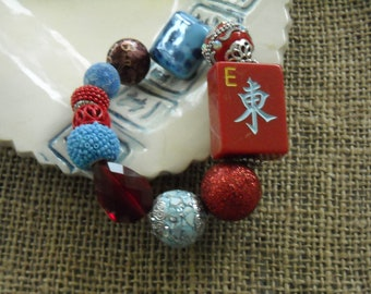 Mahjong Bracelet - Free Shipping - Red  Mahjong - Jesse James Jewelry -  Oriental Jewelry -  Mahjong Gift - Mahjong Tile - Mahjongg Gift