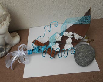 Original ring pillow on branch - turquoise and white coconut