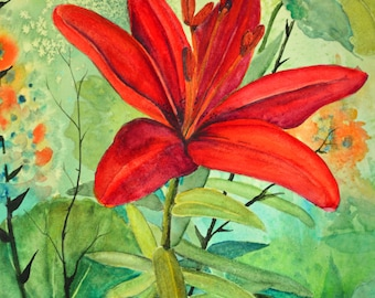 Watercolor painting original red garden lily floral watercolor painting fine art painting studio art floral paintings original watercolors