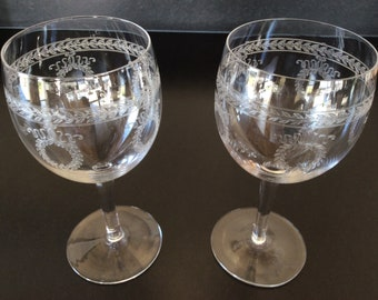 French Vintage Crystal Wine Glasses | Two Large Crystal WIne Glasses | Engraved Etched Laurel Crown Decoration | Fine Dining