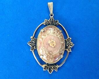 Vintage! Jasper ? in gold tone statement pendant.