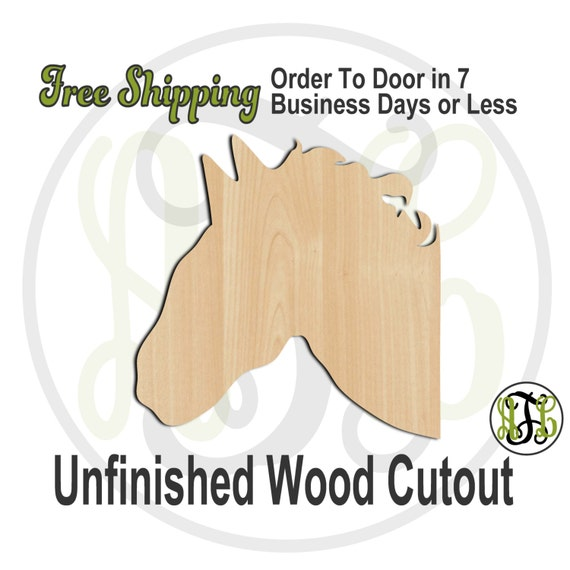 Horse Head - 230034- Animal Cutout, unfinished, wood cutout, wood craft, laser cut shape, wood cut out, Door Hanger, wooden, blank