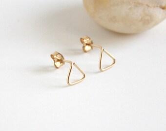 14K Gold Filled Wire Triangle Stud Earrings - Geometric Stud Earrings #FNYE03
