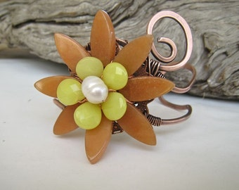 Bold copper cuff gemstone bracelet Red aventurine, green serpentine pearl OOAK Statement piece