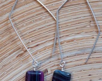 Purple Grey Striped Agate Sterling Silver Earrings Oxidized Silver