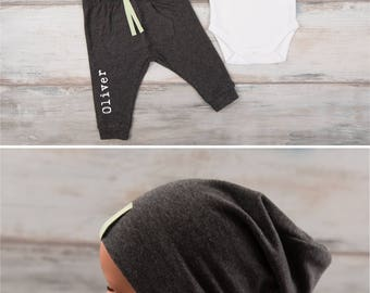 Trendy Baby Clothes, Mama's Boy Long Sleeve Bodysuit, Personalized Dark Gray Melange Pants / Hat, Trendy Baby Boy Clothes, Trendy Baby Gifts