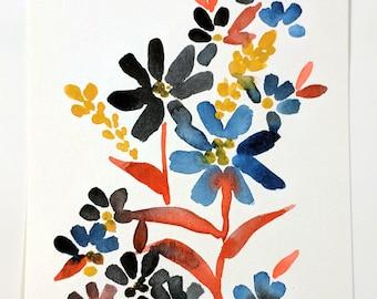 No. 4 Original 6x9 watercolor floral painting