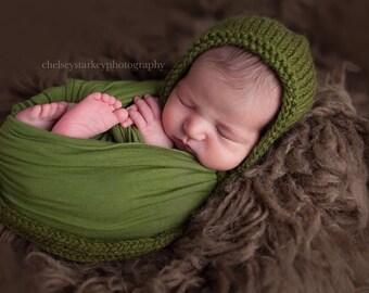 Newborn Baby Bonnet- Olive- Photo PROP