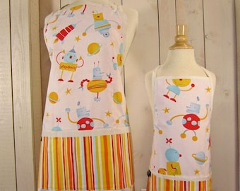 40% off Robots Mommy and Me Apron Set - Young Adult/Teen Size -  Reversible Apron Set