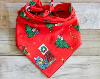 Red Christmas Dog Bandana, White Dog Bandana, Tie On Bandana