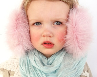 Pink ear muffs, adult / kids earmuff, ear warmer, faux fur earmuff, ear flaps, Christmas gift for girl, winter accessory.