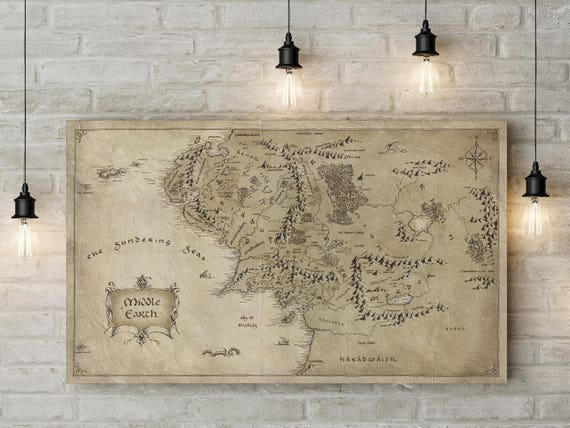Middle Earth map Middle Earth poster Tolkien map LOTR